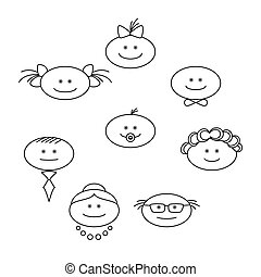 Cheerful faces, contours - People, family, faces:...