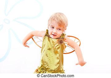 Cheerful fairy little girl