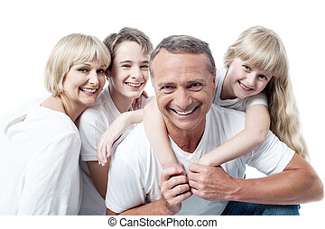 Cheerful family of four isolated on white - Happy family,...