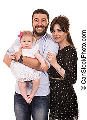 Cheerful family with baby girl - Happy mother,father and...