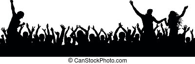 Cheerful fans party crowd. Cheering hands up applause. Crowd of people silhouette.