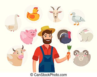 Cheerful farmer and his livestock around him. Set of farm animals around him, cartoon characters isolated on white background, illustrations in flat design. Goat, cow, pig, sheep, hen, turkey, goose.