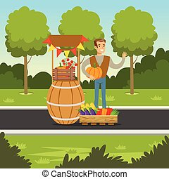 Cheerful farmer man selling vegetables at the counter made of wooden barrel with pumpkin in his hands, local market, agriculture and farming, vector Illustration
