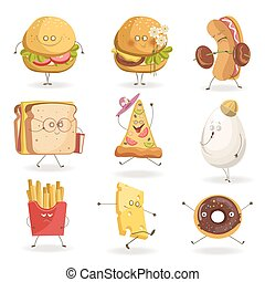 Cheerful fast food cartoon characters with human face...
