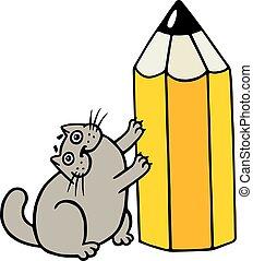 Cheerful fat cat loves pencils