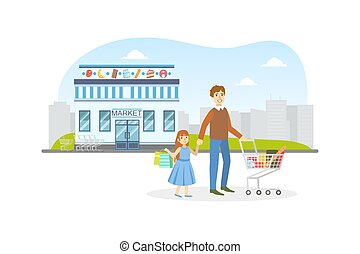 Cheerful Father and His Daughter Standing in Front of Market Building, Young Man Pushing Shopping Cart with Purchases Vector Illustration
