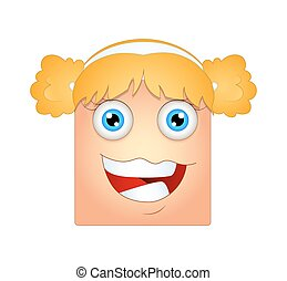 Cheerful Female Face Smiley