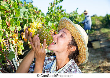 Cheerful female farmer tasting ripe grapes in vineyard