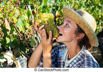Cheerful female farmer tasting ripe grapes in vineyard