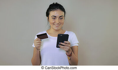 cheerful female use mobile app for shopping