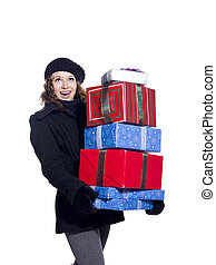 cheerful female with a stack of christmas presents