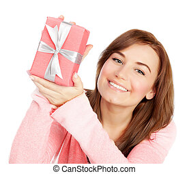 Cheerful female with gift