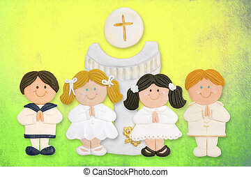 cheerful first communion card, a group of children and...
