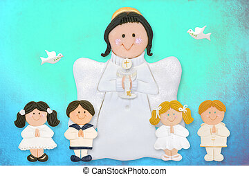 cheerful first communion card, angel with children