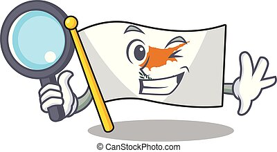 Cheerful flag cyprus one eye Detective cartoon character. Vector illustration