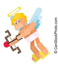cheerful flat cupid flies with arrows and bow
