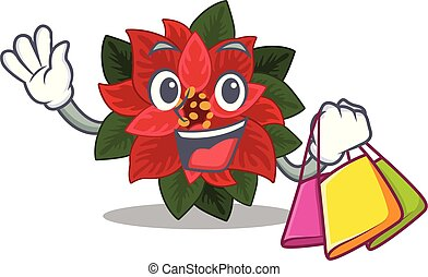 Cheerful flower poinsettia cartoon character waving and holding Shopping bag