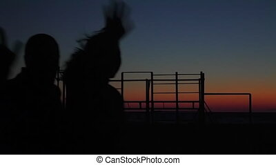 cheerful friends dancing on the background of sunset. Silhouettes
