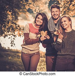 Cheerful friends in autumn park