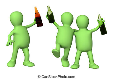 Cheerful friends with bottles of beer. Isolated over white