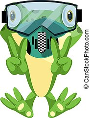 Cheerful frog diving with a diving mask, illustration, vector on white background.