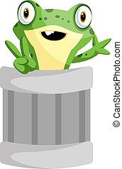 Cheerful frog mascot waving from a can, illustration, vector on white background.