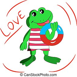 Cheerful frog with a bathing circle in his hand, cartoon love on a white background.