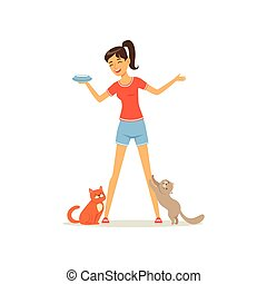 Cheerful girl feed kittens milk. Young woman caring of her pets. Female character in t-shirt and shorts. Human and animal friendship. Flat vector design