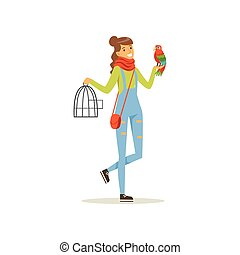 Cheerful girl holding iron cage, macaw parrot sitting on her hand. Full length portrait of young woman with colorful bird. Best friends concept. Domestic animal. Isolated flat design vector character.