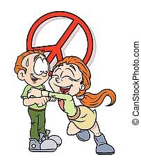 Cheerful Girl Hugs a Boy