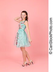cheerful girl in a dress