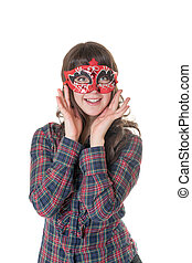 cheerful girl in a mask