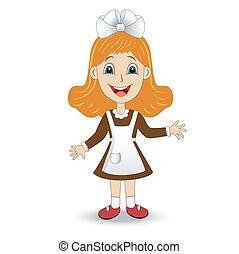 cheerful girl in school uniform