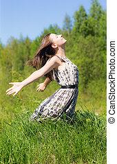 Cheerful girl in summer