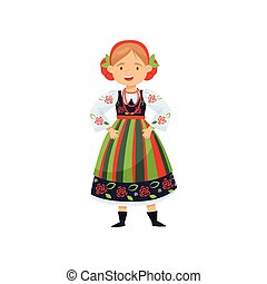 Cheerful girl in traditional Polish folk dress. National costume. Cartoon female character. Flat vector design