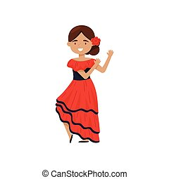 Cheerful girl in traditional Spanish dress. Flamenco dancer costume. National outfit of Spain. Flat vector design