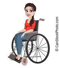 Cheerful girl in wheelchair, woman with disability