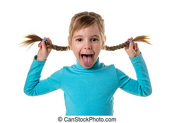Cheerful girl making funny face. Portrait of emotionally kid. Funny little girl isolated on white background. Beautiful caucasian model with two braids