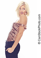 Cheerful Girl - Image of a blond girl with fresh urban still...