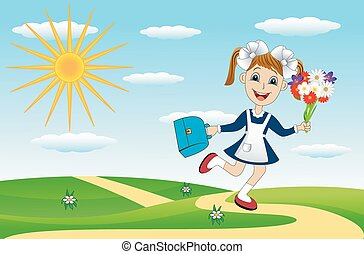 cheerful girl with a bouquet