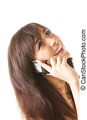 Cheerful girl with mobile phone