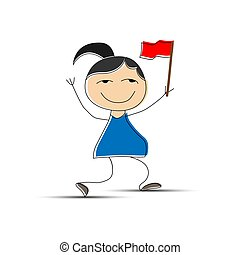 Cheerful girl with red flag in hand, flat design