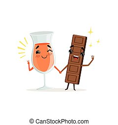 Cheerful glass of orange drink and chocolate bar holding by hands. Cartoon food and drink characters. Cute sweet couple. Flat vector illustration