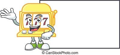 Cheerful golden slot machine mascot style design with whiteboard