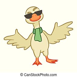Cheerful goose on a white background