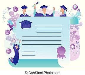 Cheerful Graduate Students with Diploma Frame