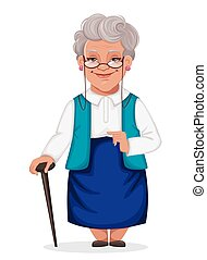 Cheerful grandmother stands with walking cane
