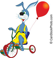 rides - Cheerful gray hare rides a bicycle with three wheels...
