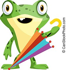 Cheerful, green frog with an umbrella, illustration, vector on white background.