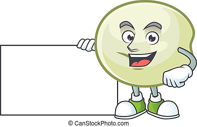 Cheerful green hoppang cartoon character having a board